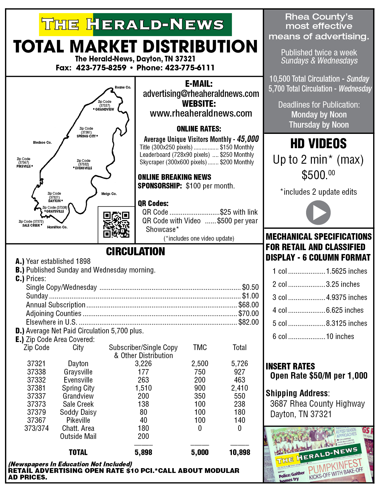 2015 Rate Card for The Herald-News